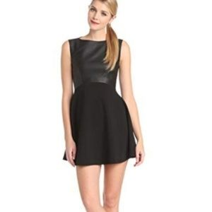 French Connection Vegan Faux Leather Black Dress 8